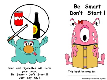 """Red Ribbon Week Book """"Be Smart Don't Start""""!"""