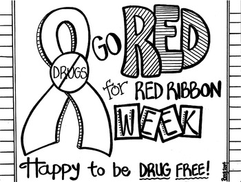 image regarding Red Ribbon Week Printable Activities called Crimson Ribbon 7 days Coloring Sheet