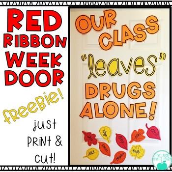 Red Ribbon Week Door Display FREEBIE