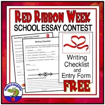 Red Ribbon Week Essay Contest Entry Form  Free By Happyedugator