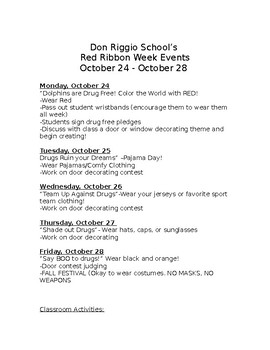 Red Ribbon Week Events Schedule