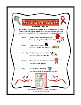 """Red Ribbon Week Flyer 2017 """"Your Future is Key, so Stay Drug Free"""""""
