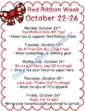 Red Ribbon Week Flyer and Parent Letter (Editable)
