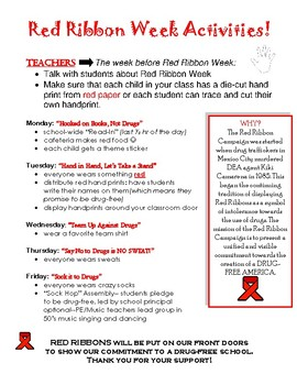 Red Ribbon Week Flyer for Daily Activities