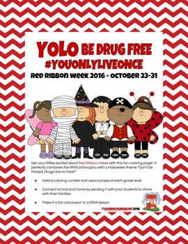 Red Ribbon Week Halloween Theme Coloring Page - UPDATED!
