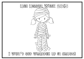 Red Ribbon Week Halloween Themed Coloring Pages