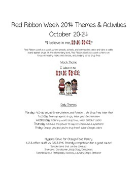 Red Ribbon Week Handout: Ideas