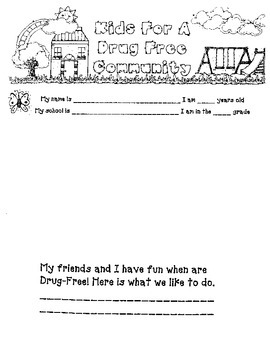 Red Ribbon Week: Kids for a Drug-Free Community Primary Poster