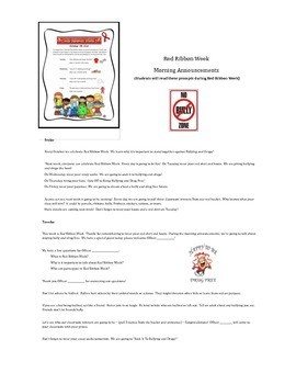 Red Ribbon Week Morning Announcements