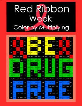 Red Ribbon Week Multiplication Coloring Activity