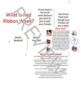 Red Ribbon Week Peer Pressure Healthy & Safe Choices; Cross the Line