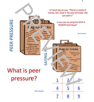 Red Ribbon Week Peer Pressure Powerpoint TicTacToe game + Lesson Elementary