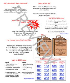 Red Ribbon Week Peer Pressure Powerpoint Jeopardy game + Lesson Elementary