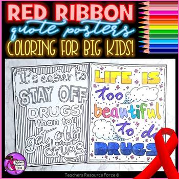 Red Ribbon Week Quote Coloring Pages and Posters