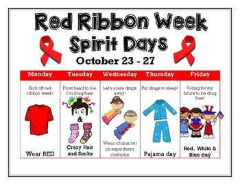 Red Ribbon Week Spirit Days 2017