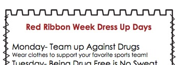Red Ribbon Week Themed Days