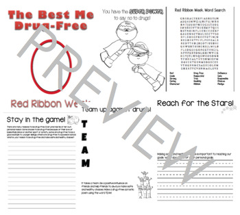 Red Ribbon Week Writing Prompt Booklet Bundle Elementary Prevention