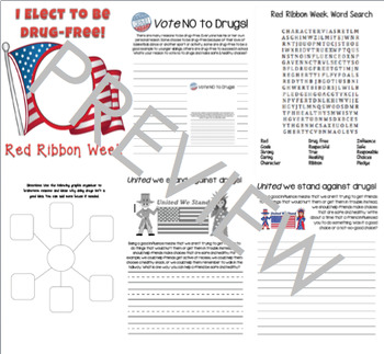 Red Ribbon Week Writing Prompt Booklet Elementary Prevention Election Theme