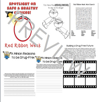 Red Ribbon Week Writing Prompt Booklet Elementary Prevention Movie Theme