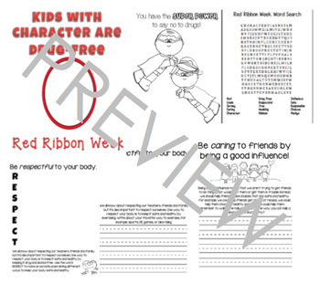 Red Ribbon Week Writing Prompt Booklet Elementary Prevention Character Theme