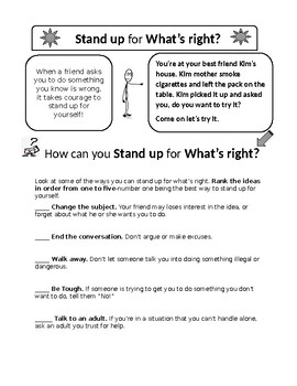 Red Ribbon Worksheet, Decision-making Skills Worksheet, Peer Pressure Worksheet