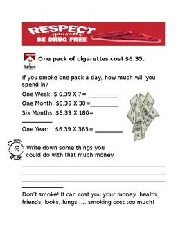 Red Ribbon Worksheet: Drug Awareness and Peer Pressure