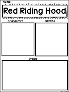 Red Riding Hood Book Study Graphic Organizers