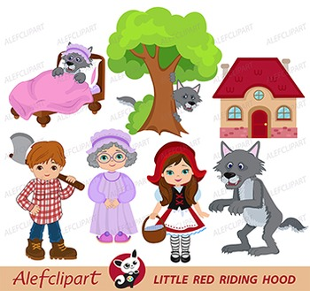 Red Riding Hood Clipart - blacklines included