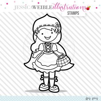 Red Riding Hood Cute Digital B&W Stamp, Cute Hooded Girl Line Art, Blackline