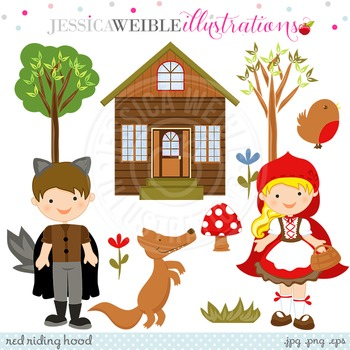 Red Riding Hood Cute Digital Clipart, Woodland Clip Art
