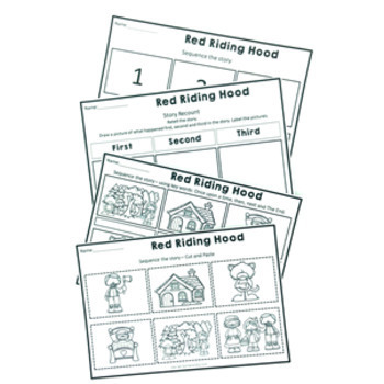 fairy tale activity pack red riding hood reading writing and sequencing. Black Bedroom Furniture Sets. Home Design Ideas