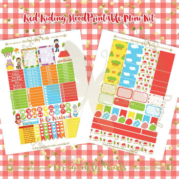 Red Riding Hood Printable Planner Stickers Mini Kit