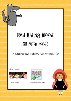 Red Riding Hood QR math task cards - addition and subtraction within 100