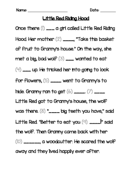 Red Riding Hood Sight Words