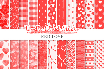 Red Romantic digital paper, Valentine's day Scarlet patterns, Love, Roses