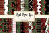 Red Rose Bee seamless digital paper patterns, honey bee backgrounds