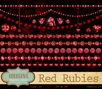 Red Ruby clipart borders, diamond garnet gem jewelry valentine clip art