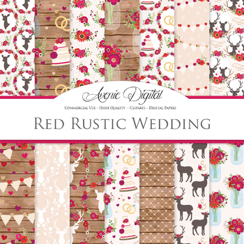 Red Rustic Wedding Digital Paper - Christmas Wedding Seamless Patterns