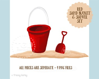 Red Sand Bucket and Shovel Clip Art Set, Printable Tracey Gurley Designs