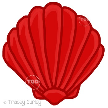 Red Scallop Shell - scallop shell clip art Printable Tracey Gurley Designs