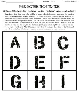 Red Scare (1950s) Tic-Tac-Toe Close Reading