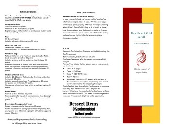 "Red Scarf Girl | ""Menu"" Style Differentiated Project"