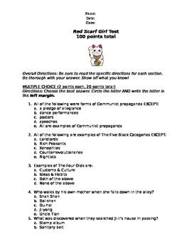 Red Scarf Girl - Unit Test & Key