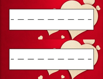 Valentine's Day Red Scattered Hearts Desk Name Tag Plates Set