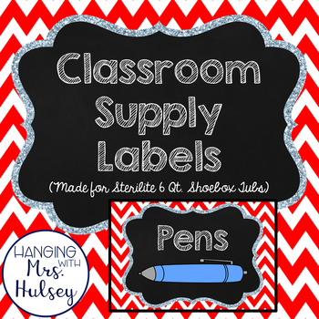 Red School Supply Labels (Editable)