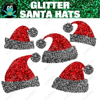 Red Silver Glitter Santa Hats {Upzaz Digital Clipart}