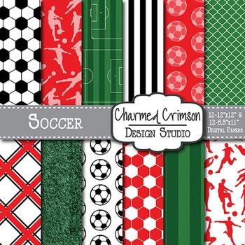 Red Soccer Digital Paper 1349