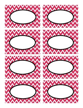 Red Stitched Chevron with Black Classroom Decor Labels