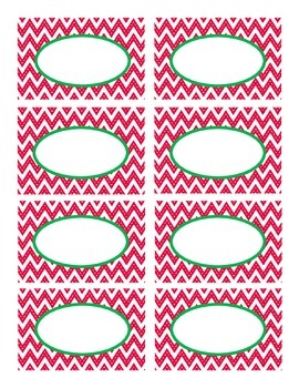 Red Stitched Chevron with Green Holiday Classroom Decor Labels
