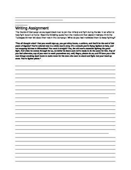 Red Tails Movie Quiz and Writing Assignment